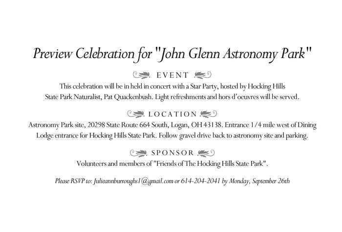 John Glenn Astronomy Park Preview Celebration