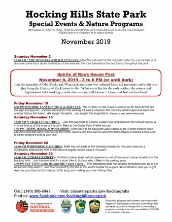 HHSP Special Events & Nature Programs November 2019